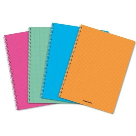 Caiet cu spirala, A4, 60 file - 80g/mp, coperta PP transparent color, AURORA - velin